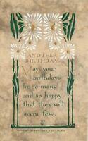 Arts Crafts Saying Volland Birthday Flowers Postcard 11277