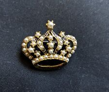 Vintage Gold Tone Royal Crown Pin decorated with faux pearls Neat and Elegant!