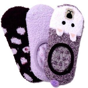 Secret Treasures Women's Cozy Fuzzy Liner Socks 3 Pair Shoe 4-10 Purple Bear