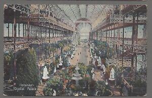 Vintage postcard Interior of Crystal Palace, London. pmk Norwood 1910