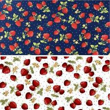 100% Cotton Poplin Fabric Rose & Hubble Strawberries Polka Dots Strawberry