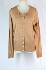 The LIMITED Cardigan Sweater LARGE Tan Merino Wool Acrylic Button Scoop Neck