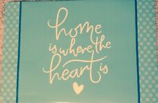 """Placemats Home Is Where The Heart Is Set 4 Vinyl Foam 12"""" x 18"""" Turquoise Blue"""