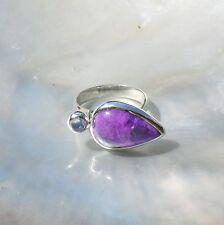 Sugilith Ring, 925er Silber, Edelsteinring (20936), mit Mondstein, Echtschmuck