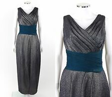 Vtg RENEE MENEELY c.1950's Metallic Gray Sleeveless Pleated Evening Gown Dress