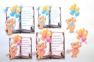 3D UPick Baby Boy Girl Bear Twins Verse Card Scrapbook Embellishment