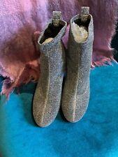 Zara Silver Lurex Block Heel Ankle Sock Boots Size 6