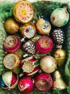 LOT 17 OLD VINTAGE BLOWN GLASS INDENTED And Others CHRISTMAS ORNAMENTS