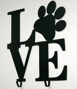 Black Metal Dog Leash Holder- Puppy Love Paw Print Wall Decor Sign 2 Hooks