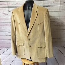 *42L  Wrangler Western Tan Corduroy Leather 2 Btn Mens Jacket Sport Coat Blazer