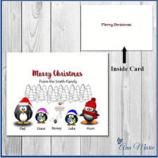 10 Personalised Christmas Penguin Family Cards Xmas Greetings With Envelopes