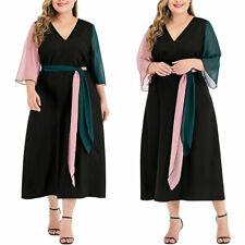 Damen Übergröße Kleid V-Ausschnitt Patchwork 3/4 Ärmel Gürtel Freizeit Midikleid