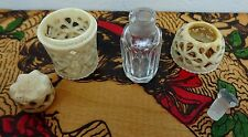 Tiny Antique Cut Glass & Bovine Case Perfume Snuff Bottle Chinese