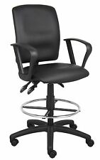 Drafting Stool with Arms Tall Standing Desk Chair Black Adjustable Height Office