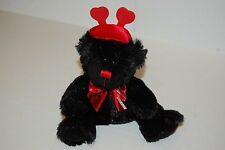 "Valentine Love Teddy Bear Heart Antenna Hat Red Nose Black Plush Lovey 7"" Toy"
