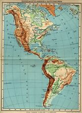 Antique physical map North South America 1932 natuurkundige kaart Amerika