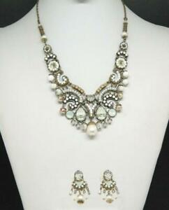 Signed AYALA BAR Two Tone Glass Beaded Dangle Necklace & Earrings Suite