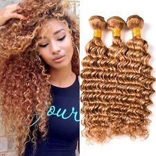8A 300g/3bundles Unprocessed Brazillian Honey Blonde #27 Deep Wave Human Hair