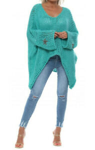 Ladies Womens Oversized Lagenlook Winter Warm Chunky Knit Jumper Top Plus Size
