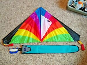 Into The Wind Delta Kite & Bag - RipStop Nylon Line On Handle 2 Tails Kids NICE
