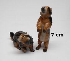 deux figurines loutres en porcelaine,miniatures de collection, vitrine  tp8-2