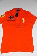 Polo Ralph Lauren Women Orange Shirt  Big Pony Great Britian Flag  Medium M