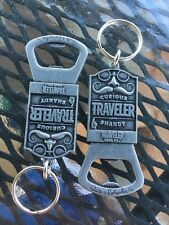 SET OF 2 CURIOUS TRAVELER SHANDY KEYCHAINS Bottle Opener Mustache Key Chain NEW