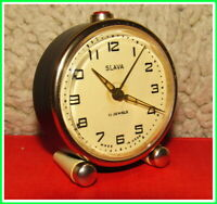 Vintage Mechanical Alarm Clock Slava 11 Jewels Russian USSR Soviet 1980 #24222