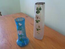 2  Anciens Vases en Verre bullés soliflore peint à la main