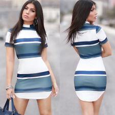 Fashion Women Short Sleeve One-piece Dress Slim Fit Casual Mini Dress