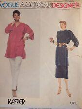 Rare VTG VOGUE DESIGNER KASPER 2142 Tunic or Top Pants & Wrap Skirt PATTERN 8 UC