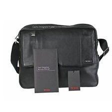 New Tumi Top Zip Flap Crossbody/Shoulder Grain Leather Messenger Bag Black 60102