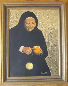 Vintage Mid-Century Elderly Jewish Orange Carver, OoC, Irene Shein -Period Frame