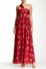 Rachel Zoe 'Stella' One Shoulder Silk Blend Gown in Berry sz 0 to 2 $795