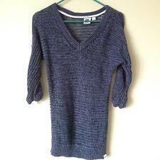 Women's Roxy Gray Net Knit Cotton 1/2 Sleeve Sweater Shirt Pullover Size Medium