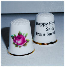 BN Personalised Fine Bone China Thimble Vintage Rose Bud Design, Gift For Her