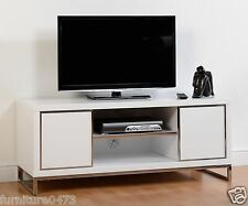 White Gloss 2 Door 1 Shelf Flat Screen TV Unit W120cm x D45cm x H50cm CHARM