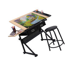 Drafting Desk Drawing Table Tabletop Adjustable Height With Stool Arts Craft NEW