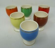 6  Vintage Romanian Made Primary Colour Egg Cups  (F3)
