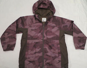 Camo Lined Windbreaker Jacket Hoodie Boys Youth L  Large