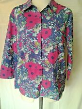 Adini 100% cotton 3/4 sleeve collared button front printed shirt hidden buttons