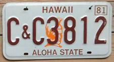Vintage Hawaii 1981 -Ali'i Chief with Mahiole- License Plate ~ C&C3812- Embossed