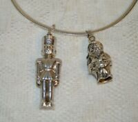Vintage Sterling Silver Santa Claus and Nutcracker Pendants with Omega Chain
