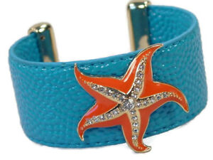 Blue Starfish Leatherette Cuff Bracelet Accented with Clear Crystals
