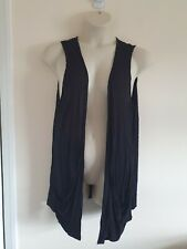 Ladies Black Long Line Sleeveless Non Fasten Waistcoat From Evans Size 20