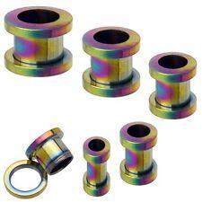 1 Pair 6g 4mm Rainbow Titanium Plated Screw On Flesh Tunnels Ear Plugs Gauge 252