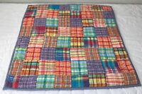 Patchwork Quilt Wall Hanging, Four Patch, Plaids, Vivid Colors, Orange, Multi