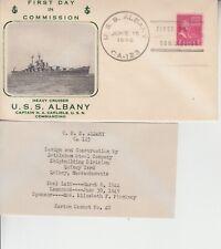 1946 USS ALBANY LAUNCHING NAVAL COVER w RARE EASTON CACHET + INSERT GEM!