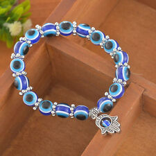 8MM Stretch Tibetan Silver Evil Eye Hand Blue Beads Elastic Lucky Charm Bracelet