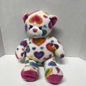 "Build A Bear White Rainbow Heart Bear 16"" Teddy Bear Red Orange Yellow Blue Purp"